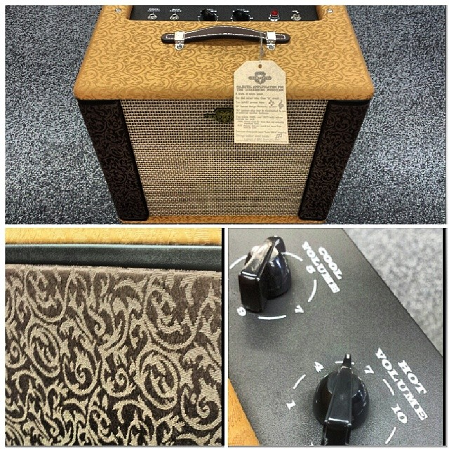 Dig this Fender Pawn Shop Ramparte amp we just got in. It's got a really tasteful two-tone fabric covering and two seperate